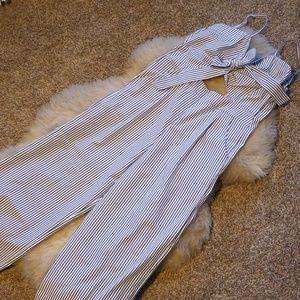 Blue/White Pin Stripe Jump Suit